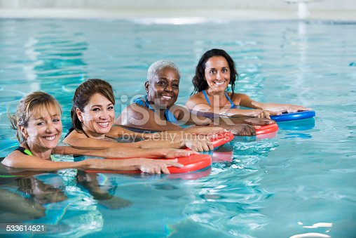 612839448istockphoto Group of mature women in water exercise class 533614521
