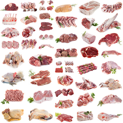 group of meat in front of white background