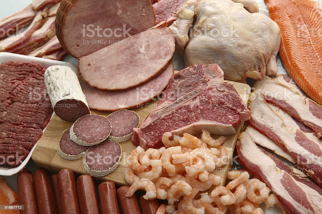 Group of meat products royalty-free stock photo