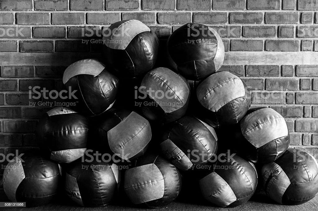 Group of medicine balls stock photo