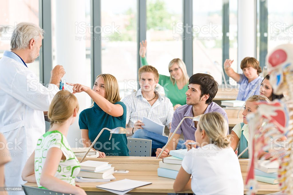 Group of medicine students with professor royalty-free stock photo
