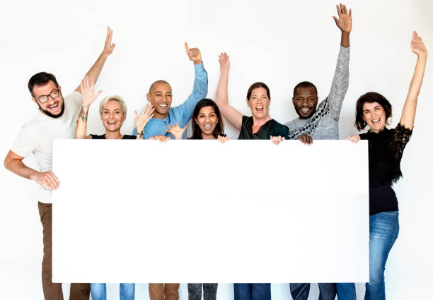 Group of Men and Female Show Present Blank Board stock photo