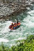 Rafting on Soča river, Soča valley in Triglav national park, Julian Alps.