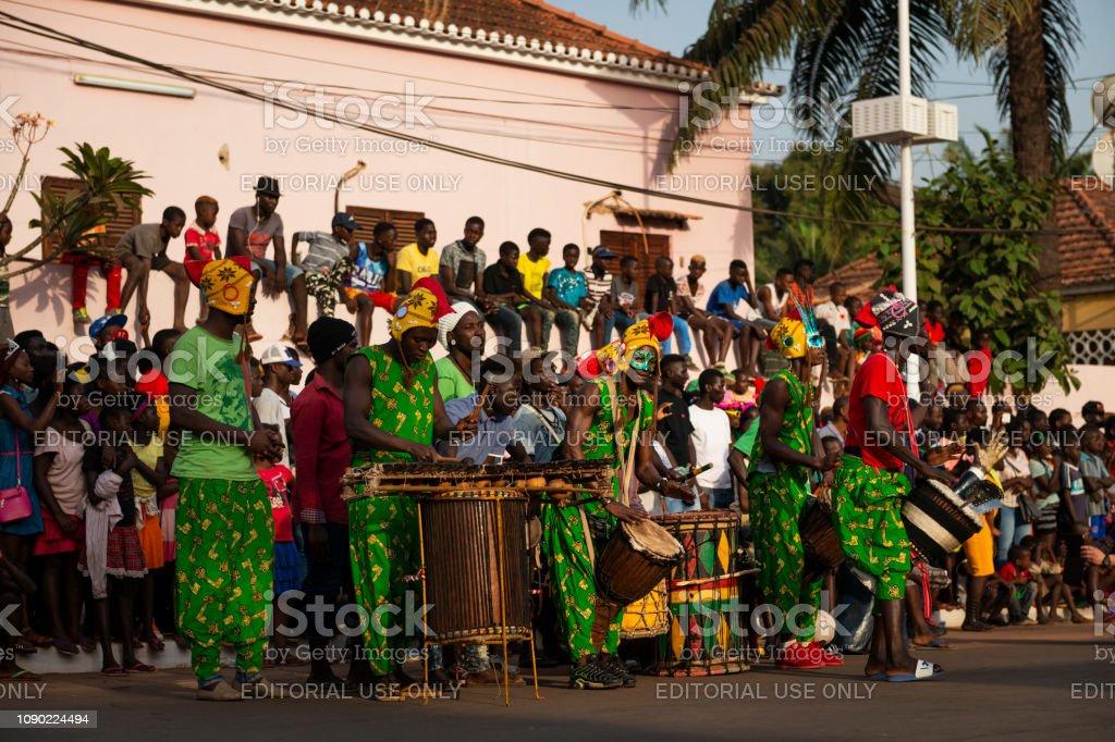 Bissau, Republic of Guinea-Bissau - February 12, 2018: Group of men...