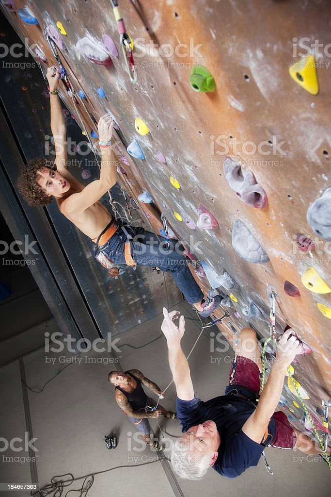 Group of Men Various Ages at Climbing Gym royalty-free stock photo