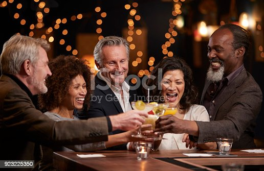 istock Group Of Middle Aged Friends Celebrating In Bar Together 923225350