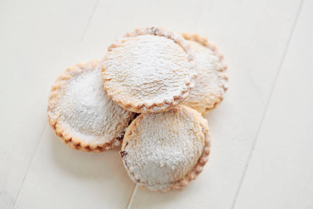 group of mince pies on a white table. stock photo