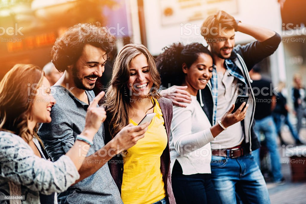 Group of mixed race people and social network concept stock photo
