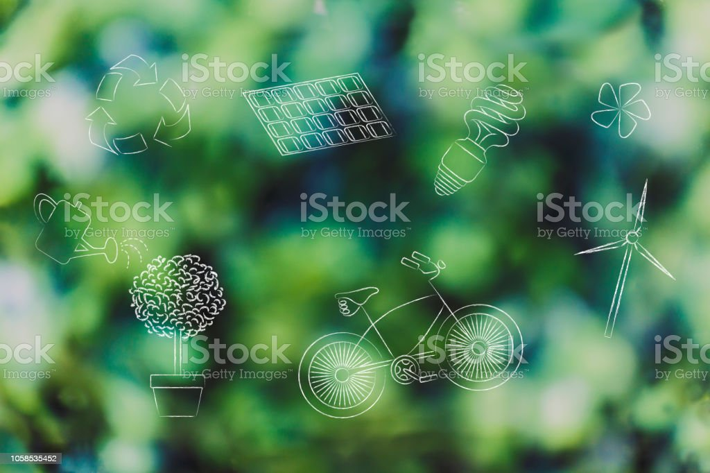 group of mixed renewable energy and sustainable development-related objects stock photo
