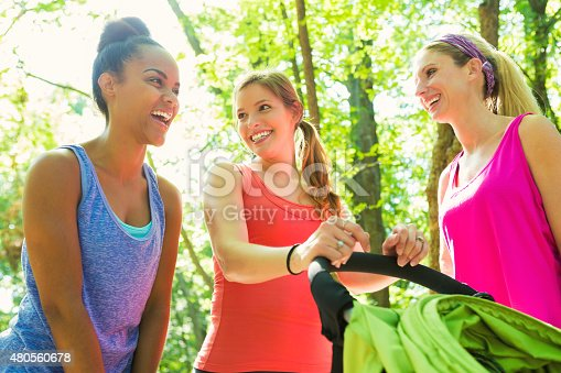 istock Group of moms exercising together in park with jogging strollers 480560678