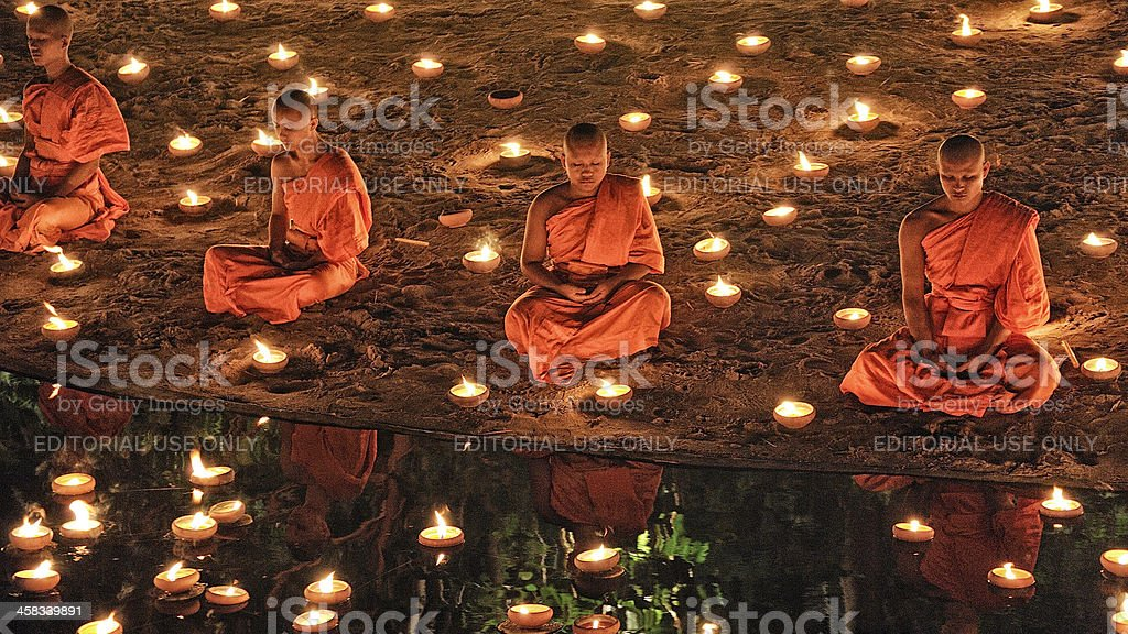 Group Of Monks Sitting Meditation Stock Photo - Download ...