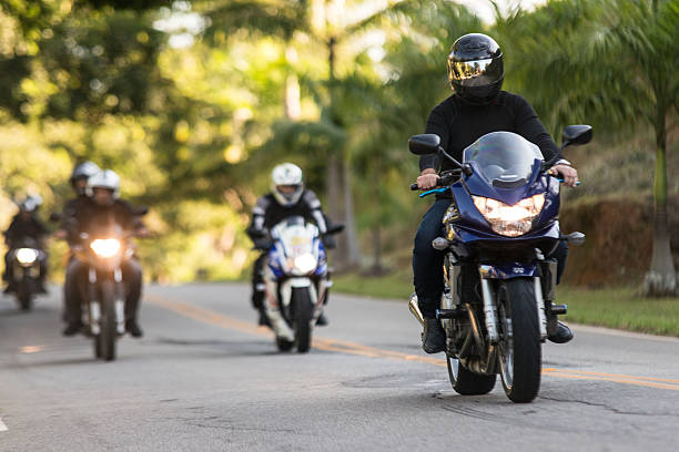 Group of motorcyclists on the road to motorcycle festival - foto de stock