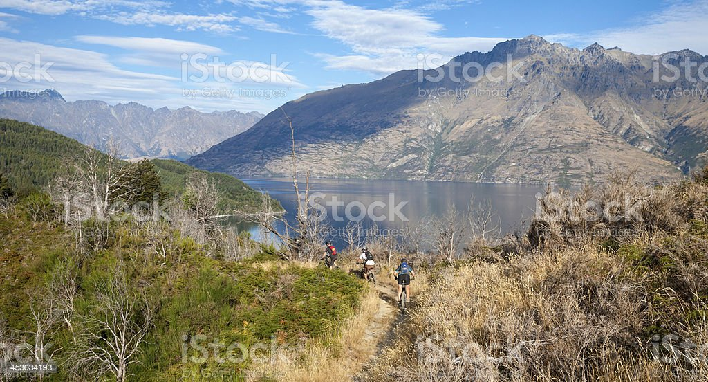 Group Of Mountain Bikers Cycling In Queenstown, New Zealand stock photo
