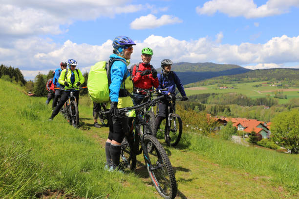 Group of mountain bikers in the Bavarian Forest, Germany stock photo