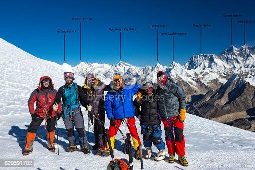 istock Group of Mountain Climbers on High Altitude Mountain of Himalaya 629391702