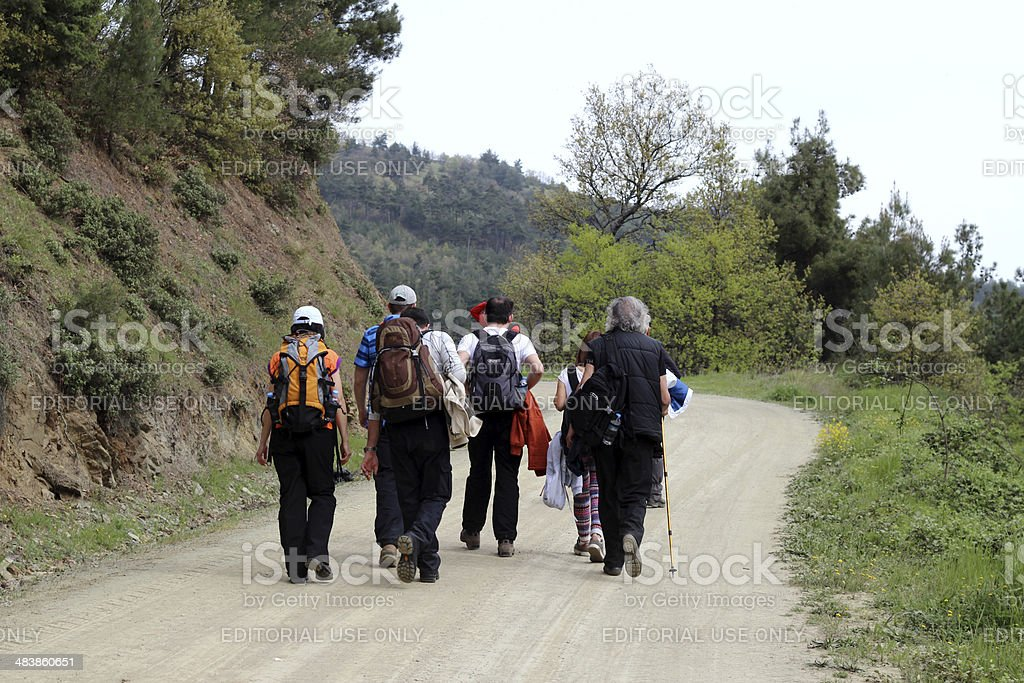 group of mountain hiking royalty-free stock photo