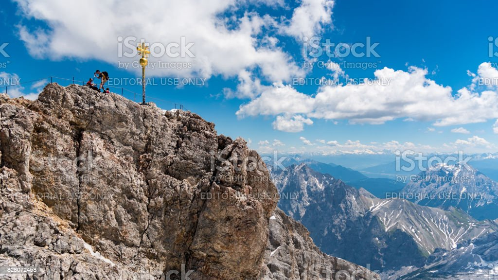 Group of mountaineer stand on the top of Zugspitze stock photo