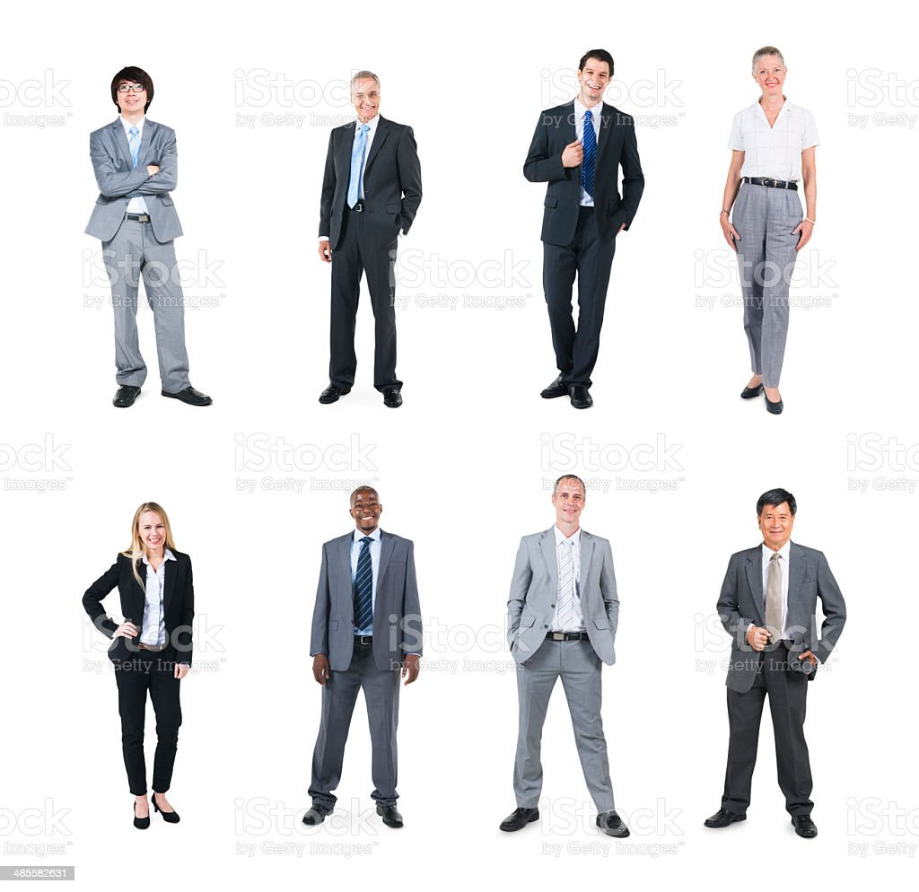Group of Multi Ethnic Business People in a White Background stock photo