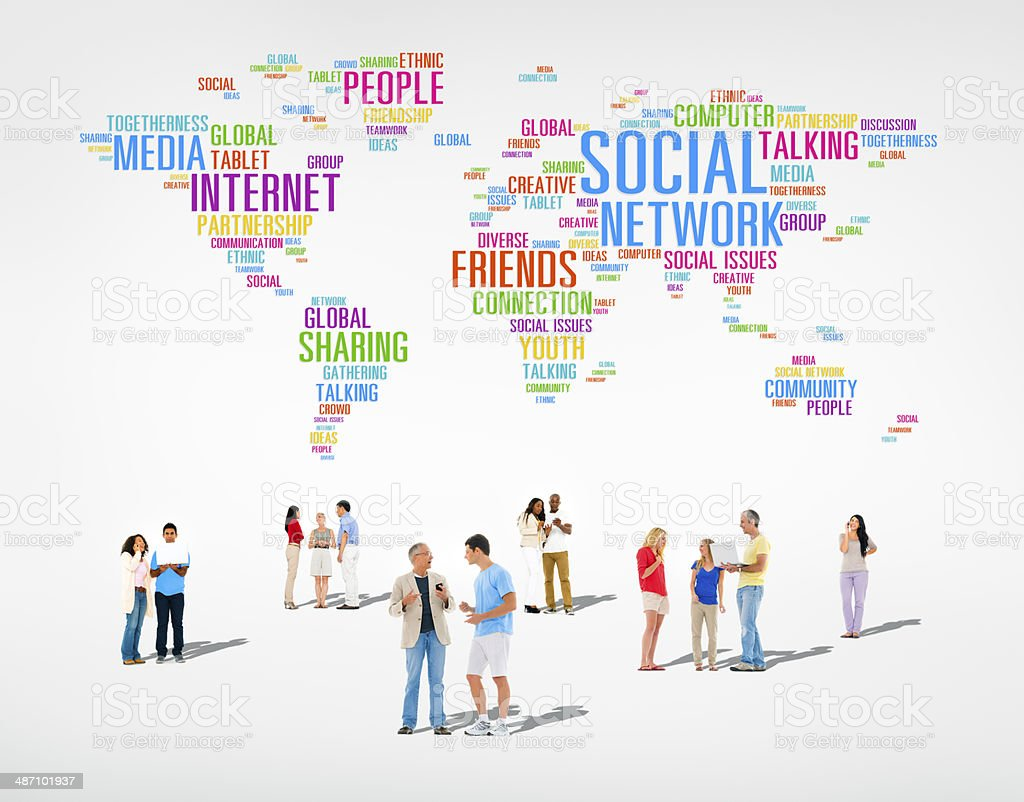 Group of Multi Ethnic Diverse People Discussing About Social Networking stock photo