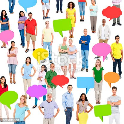 638013502istockphoto Group of Multi Ethnic Diverse People with Speech Bubbles 486394675