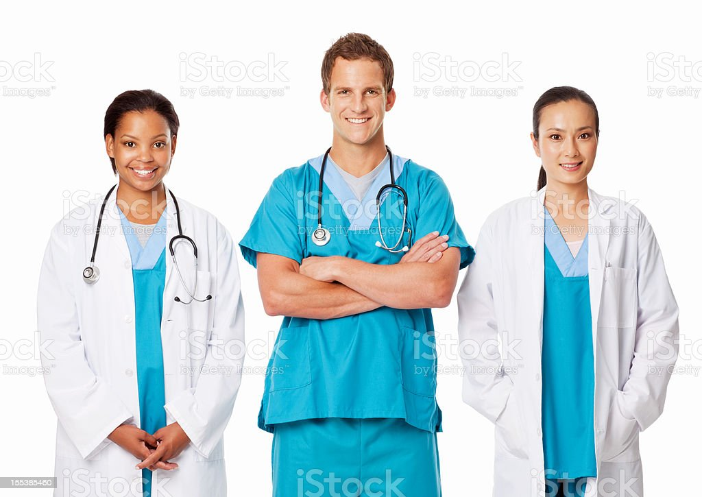 Group Of Multi Ethnic Doctors - Isolated royalty-free stock photo