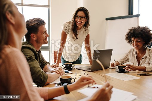 istock Group of multi ethnic executives discussing during a meeting 692292412