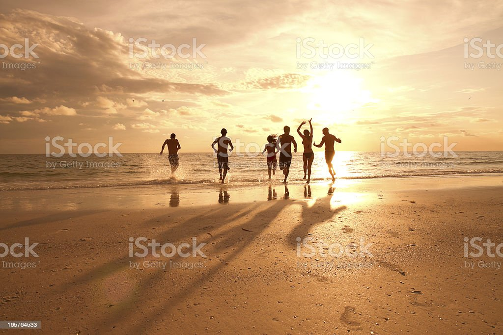 Group of multi ethnic friends having fun at the beach royalty-free stock photo