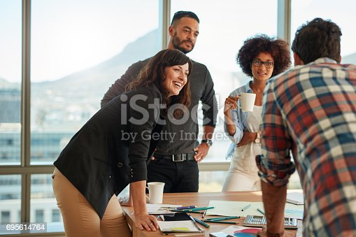 istock Group of multi ethnic people during business meeting 695614764