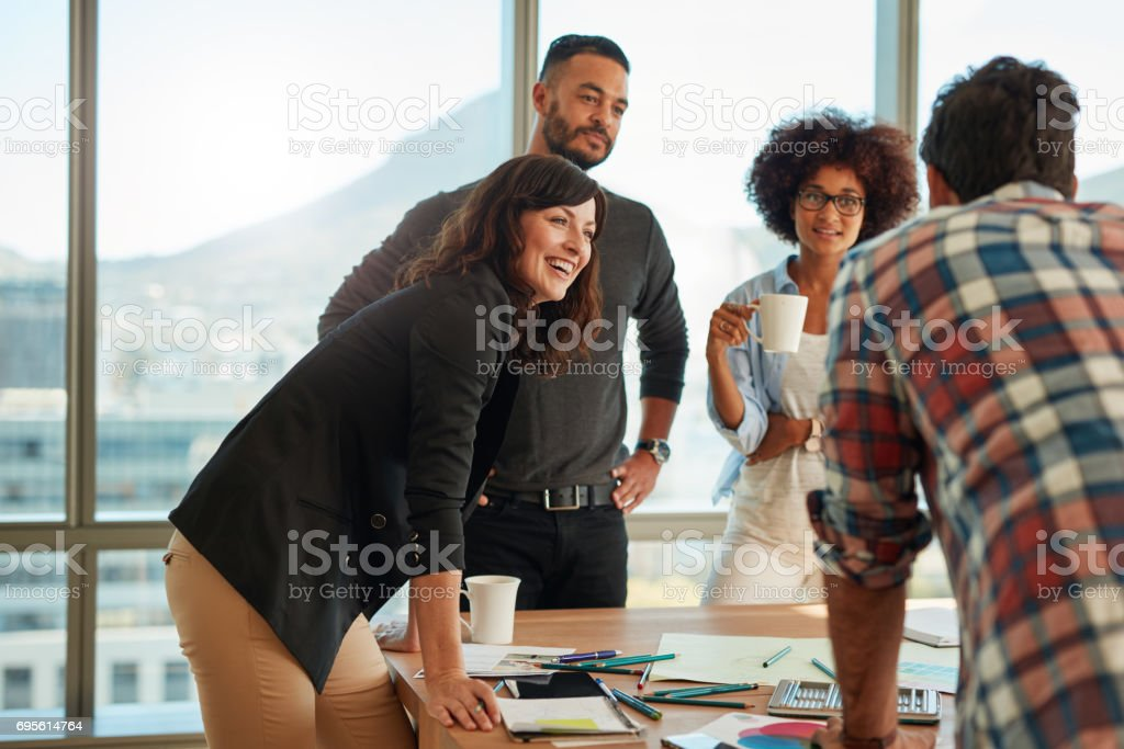 Group of multi ethnic people during business meeting stock photo
