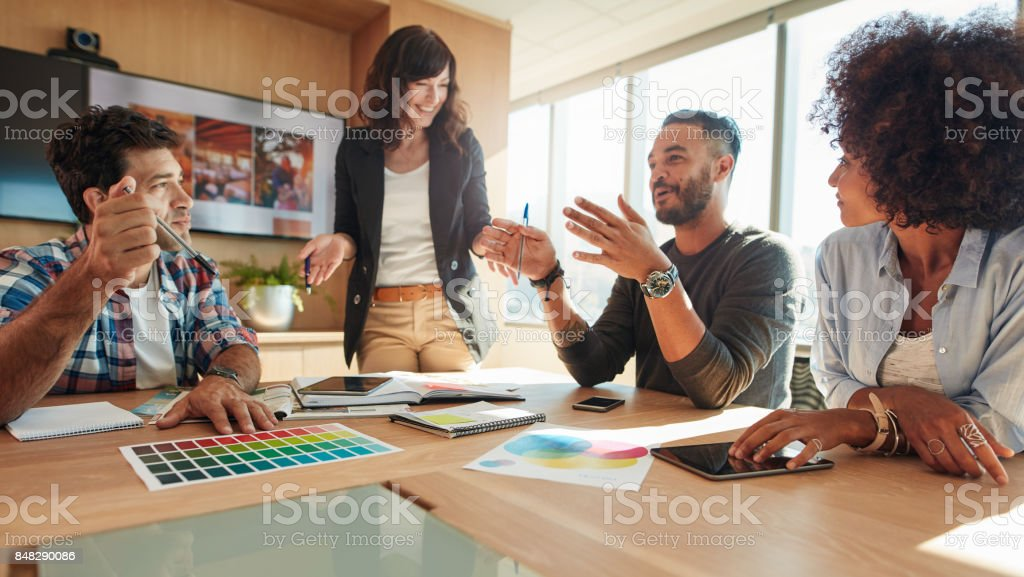 Group of multi ethnic people during business meeting royalty-free stock photo
