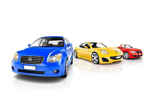 Group of Multicoloured Modern Cars Group of Multicoloured Modern Cars car show stock pictures, royalty-free photos & images