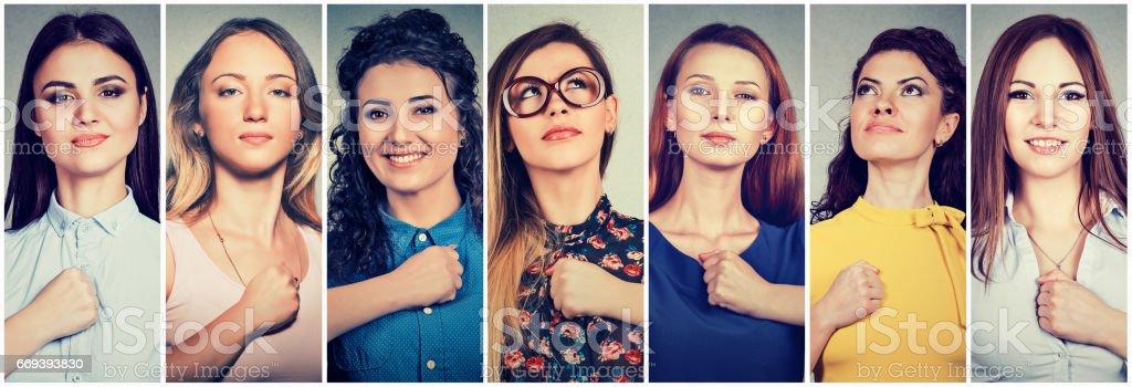 Groep multiculturele zeker jonge vrouwen foto