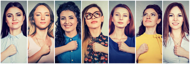 group of multicultural confident young women - battle of the sexes concept stock pictures, royalty-free photos & images