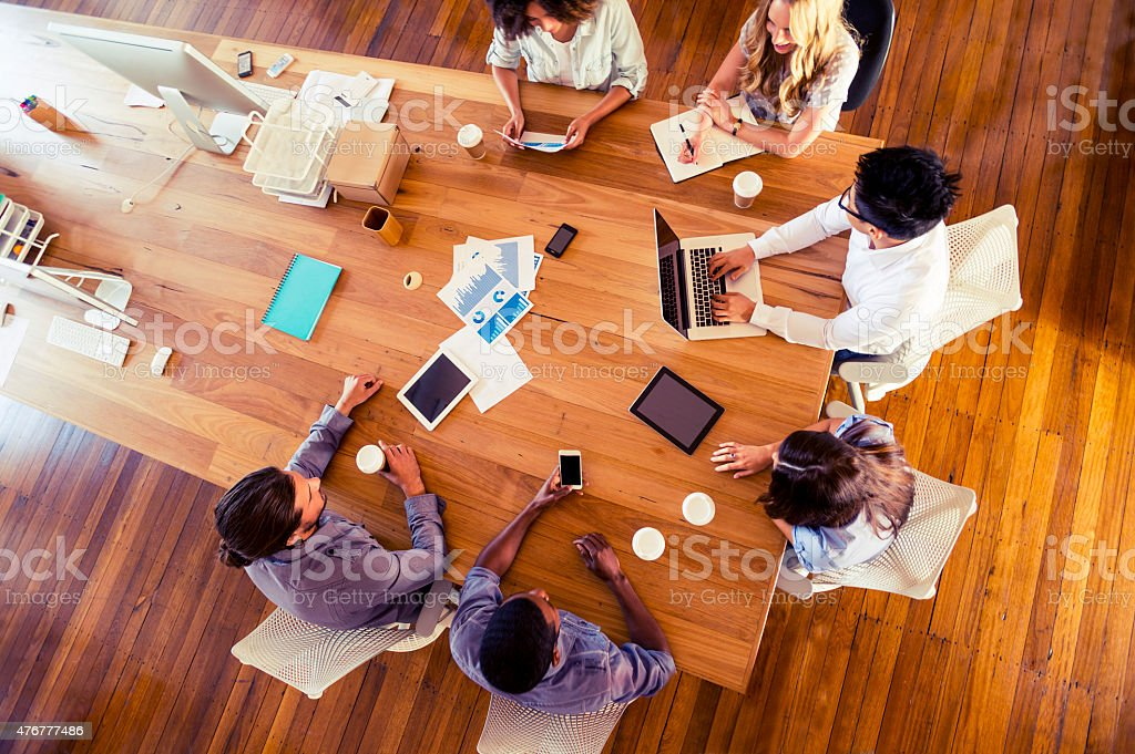 Group of multi-ethnic business people meeting stock photo