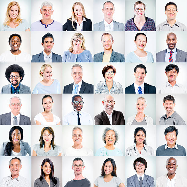 group of multi-ethnic business people - head stock photos and pictures