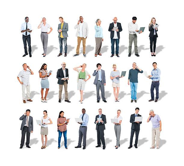 grupo multiétnico de pessoas de negócios usando digital devices - senior business woman tablet imagens e fotografias de stock