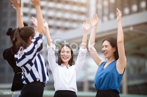 istock Group of Multiethnic Cheerful Female at City street 1029128072