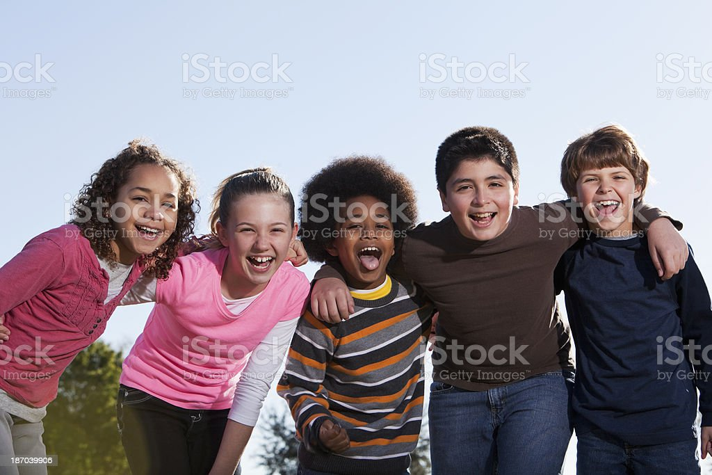 Group of multi-ethnic children shouting royalty-free stock photo