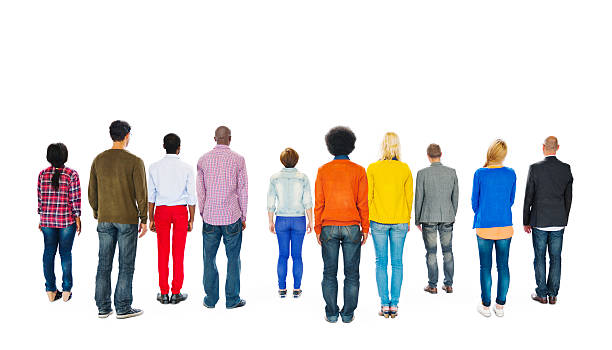 group of multiethnic colourful people facing backwards - rear view stock photos and pictures