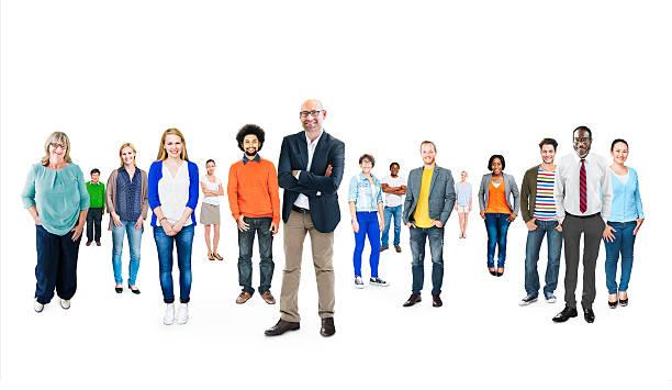 multiethnische gruppe von verschiedenen fröhlich personen - große personengruppe stock-fotos und bilder