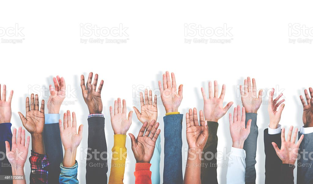 Group of Multiethnic Diverse Hands Raised Concept Group of Multiethnic Diverse Hands Raised Concept 2015 Stock Photo