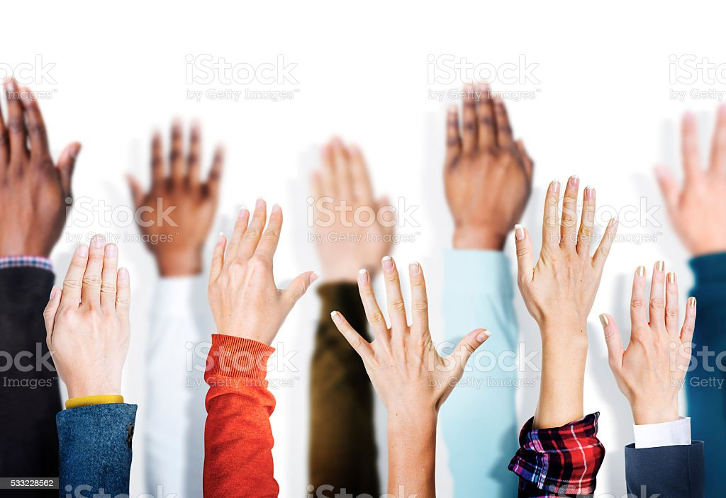 Group of Multiethnic Diverse Hands Raised Concept stock photo