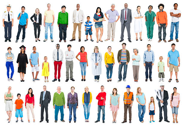 group of multiethnic diverse mixed occupation people - uniform stock photos and pictures