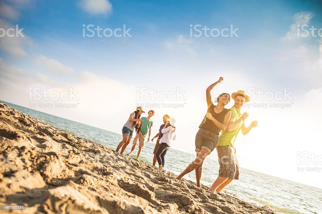 Group of multi-ethnic friends dancing on the beach stock photo