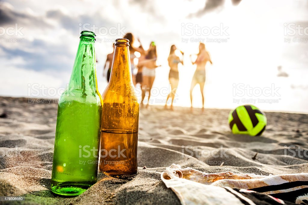 Group of multi-ethnic friends party on the beach stock photo