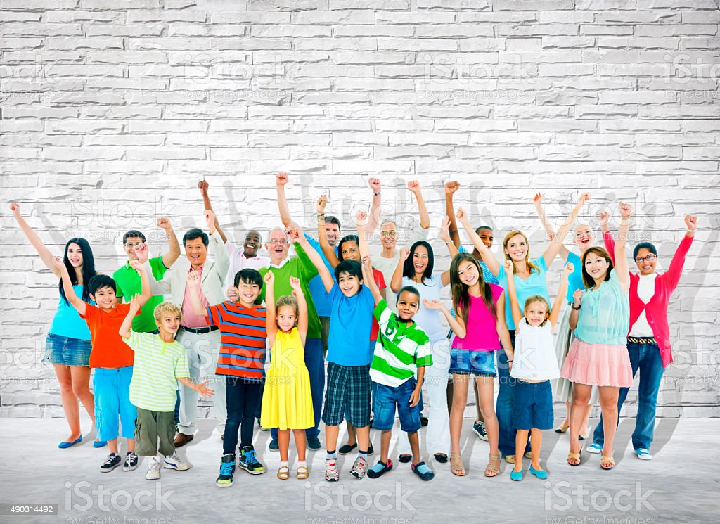 Group of Multi-Ethnic People Celebrating Success stock photo