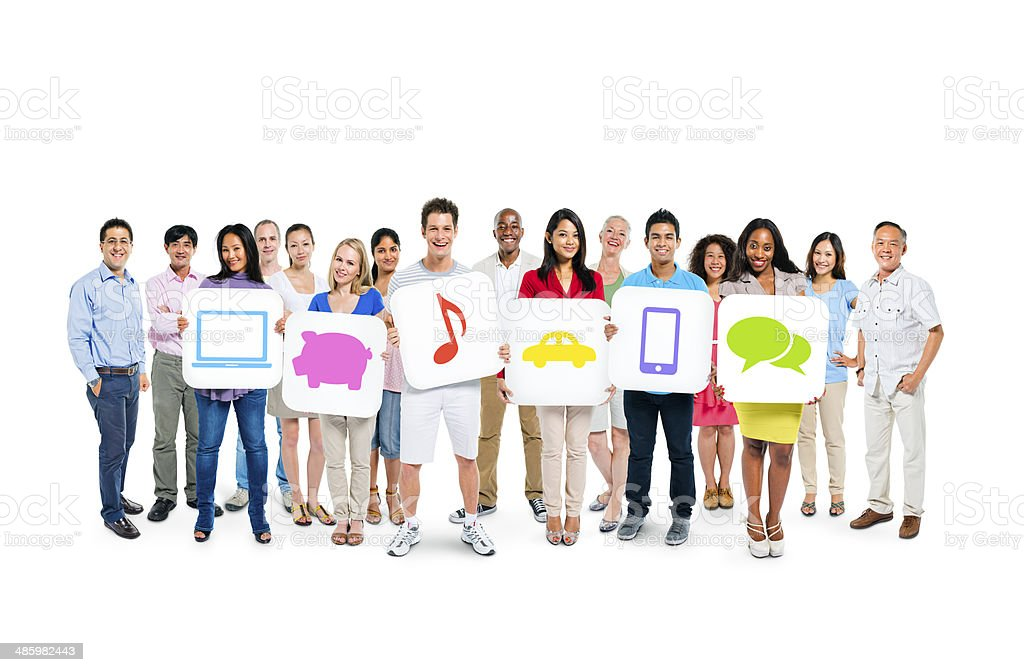 Group of Multi-Ethnic People Holding White Placards With Multimedia Icons stock photo
