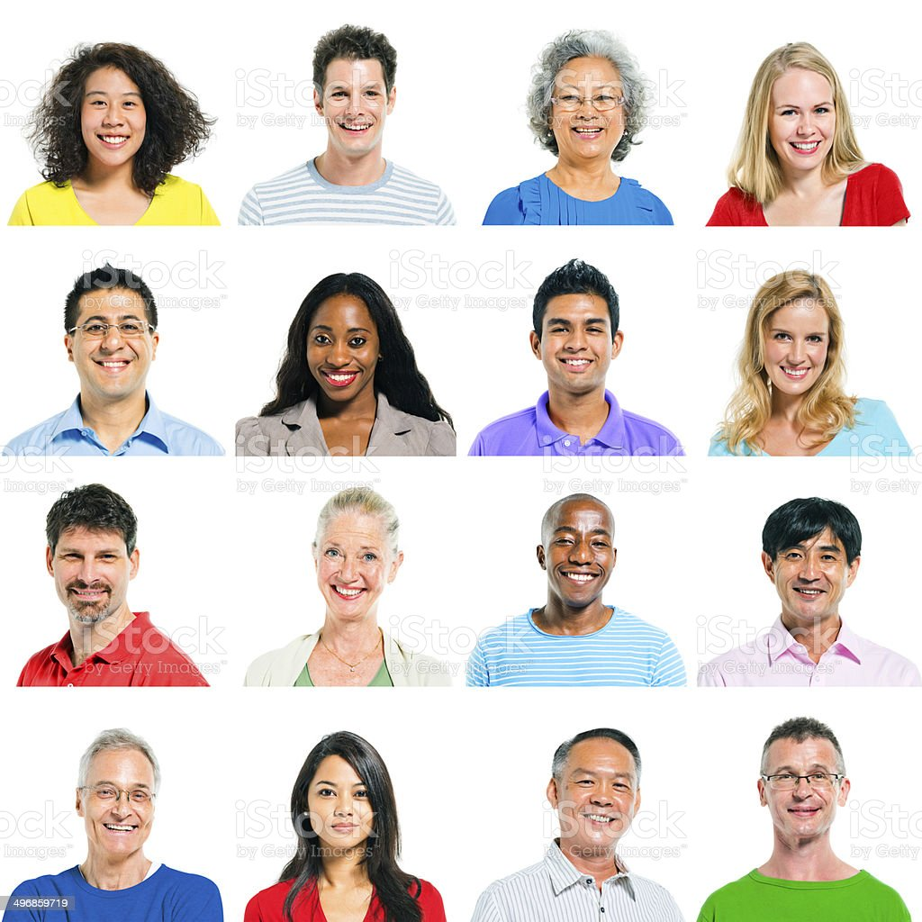 Group of Multiethnic People Smiling stock photo