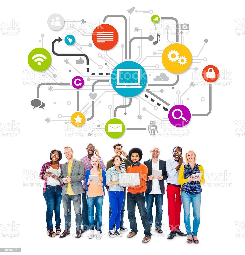 Group Of Multi-Ethnic People Social Networking And Related Symbo stock photo