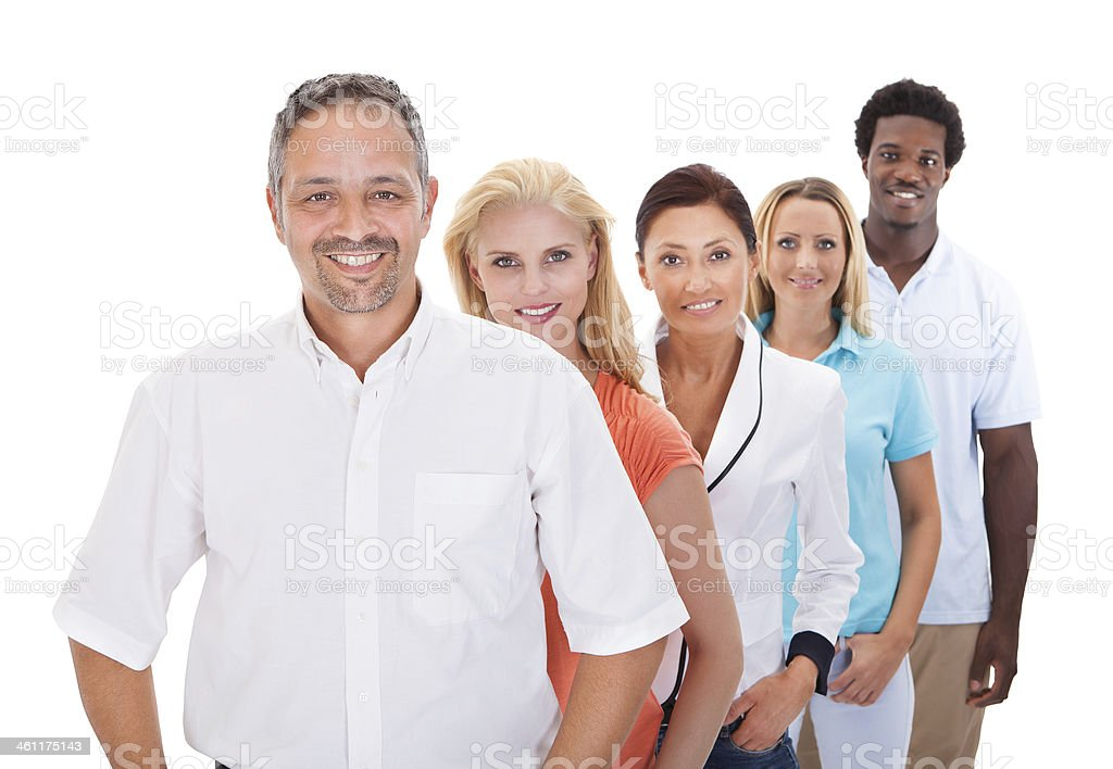 Group Of Multi-ethnic People Standing In A Row stock photo